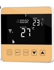 WiFi thermostat in gold...
